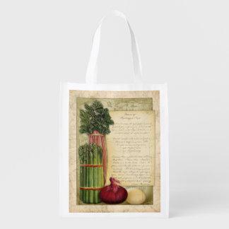 Receta de la sopa del espárrago del vintage, bolso bolsa reutilizable