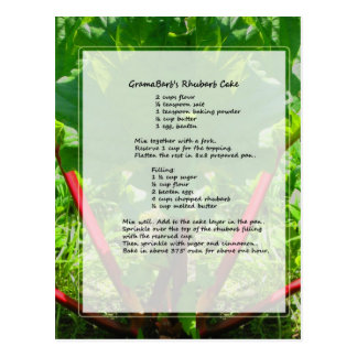 Receta de la torta del ruibarbo tarjetas postales