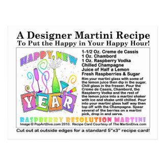 Receta de Martini de la resolución de la frambuesa Postales