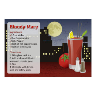 Receta del bloody mary póster