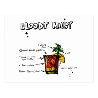 Receta del cóctel del bloody mary tarjeta postal