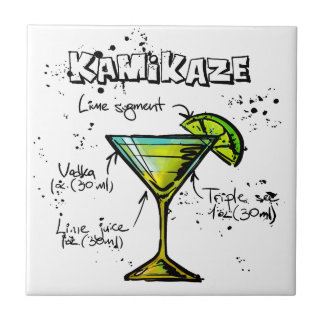 Receta del cóctel del kamikaze azulejo cuadrado pequeño