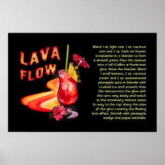 Receta del flujo de lava póster