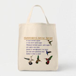 Receta del néctar del colibrí bolsa tela para la compra