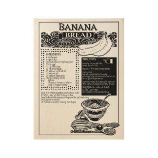 Receta del pan de plátano póster de madera