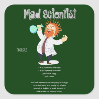 Receta enojada de la bebida del científico pegatina cuadrada