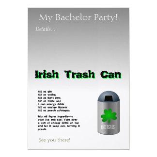 """Receta irlandesa de la bebida del bote de basura invitación 5"""" x 7"""""""