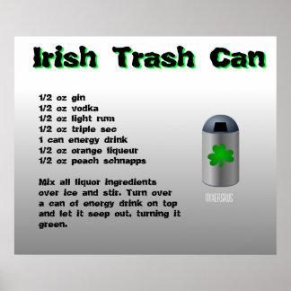 Receta irlandesa de la bebida del bote de basura impresiones