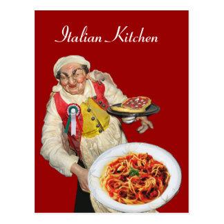Receta ITALIANA del rojo de la COCINA Tarjetas Postales