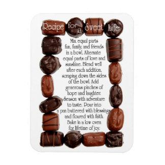 Receta para un marco dulce del caramelo de la vida imanes de vinilo