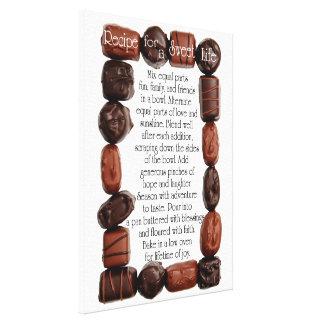 Receta para un marco dulce del caramelo de la vida impresión en lienzo estirada