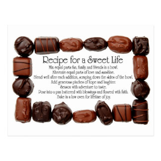 Receta para un marco dulce del caramelo de la vida postal