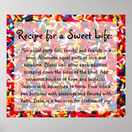 Receta para un poster dulce de la vida