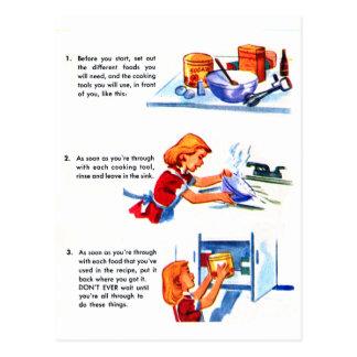 Receta retra de los niños del kitsch 50s del postal