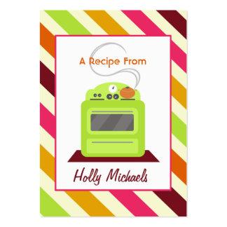 Receta retra verde clara de las rayas de la estufa tarjetas de visita grandes