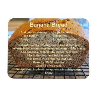 Receta simple del pan de plátano en un imán