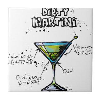 Receta sucia del cóctel de Martini Azulejo Cuadrado Pequeño