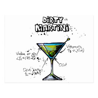 Receta sucia del cóctel de Martini Tarjetas Postales