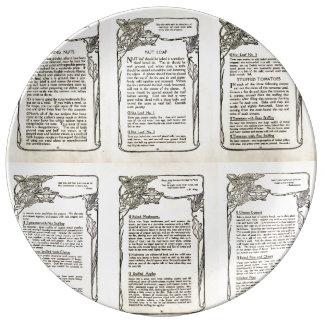 Receta vegetariana de un libro de cocina del plato de cerámica