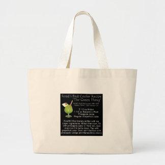 Receta verde de la cosa bolsa lienzo