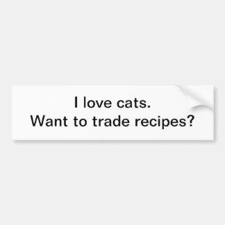Recetas comerciales del gato - pegatina para el pa etiqueta de parachoque