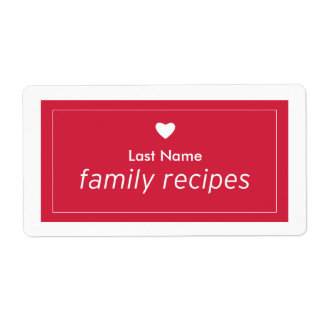 Recetas de la familia etiqueta de envío