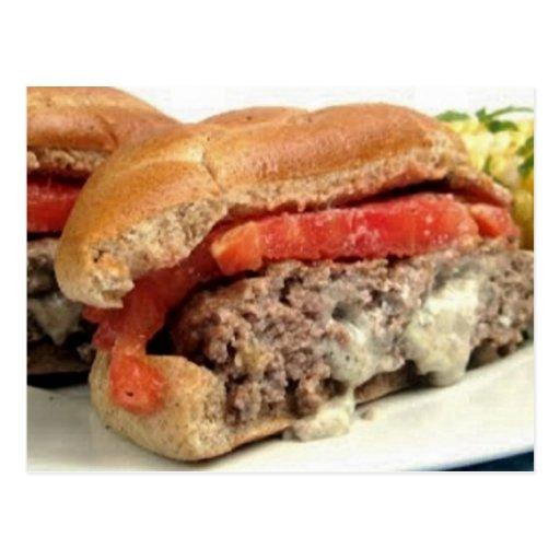 Recetas de las hamburguesas del queso verde tarjetas postales