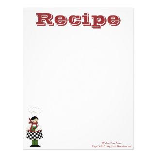 Recetas de papel del cocinero de la cocina de la r membretes personalizados