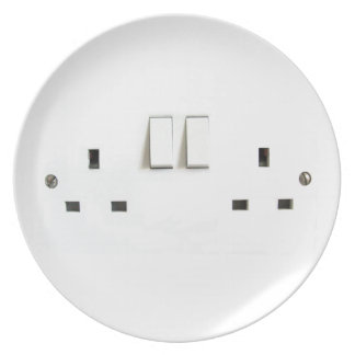 Recharge ! Funny Photo of UK Electrical Outlet Dinner Plate