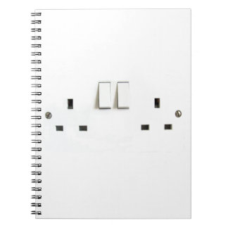 Recharge ! Funny Photo of UK Electrical Outlet Spiral Notebook