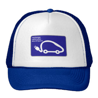 Recharge Stn Electric Cars, Traffic Sign, France Trucker Hat