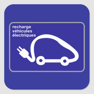 Recharge Stn Electric Cars, Traffic Sign, France Square Sticker