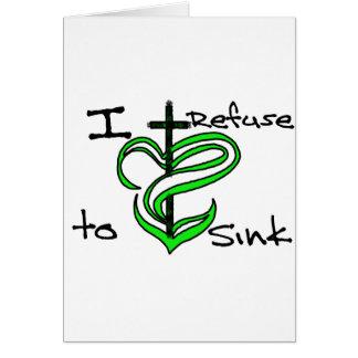 Rechazo hundir - verde tarjeta de felicitación
