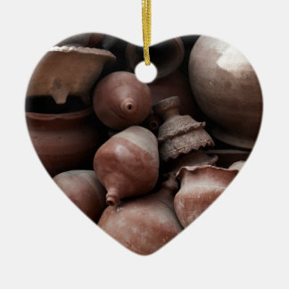 Rechazos de cerámica de Nepal cuadrado del Adorno Navideño De Cerámica En Forma De Corazón