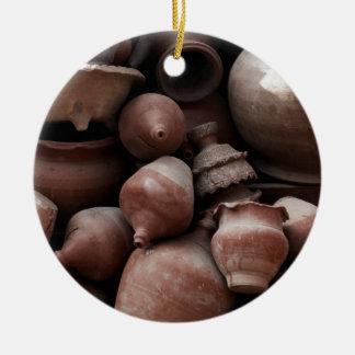 Rechazos de cerámica de Nepal cuadrado del Adorno Navideño Redondo De Cerámica