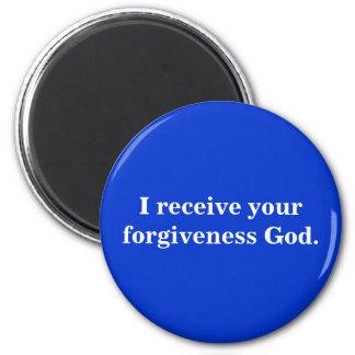 Recibo a su dios del perdón imán redondo 5 cm