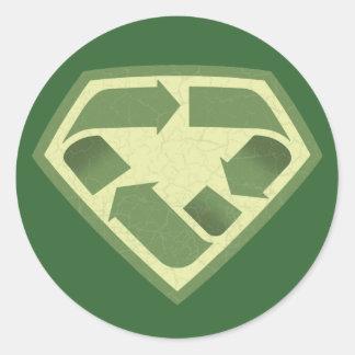 Reciclador estupendo pegatina redonda