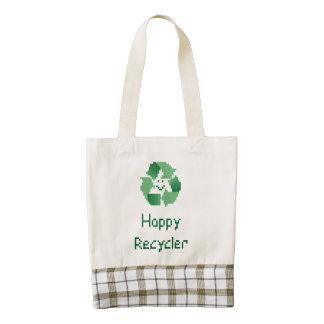 Reciclador feliz bolsa tote zazzle HEART