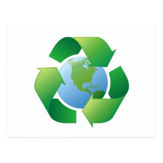 Reciclaje de la tierra circundante del planeta del postal
