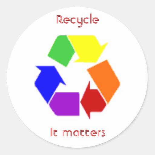 reciclaje de materias etiquetas redondas
