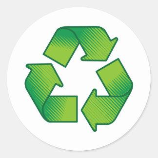 Reciclaje de símbolo etiquetas redondas