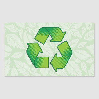 Reciclaje de símbolo pegatina rectangular