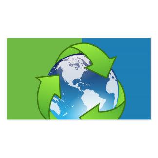 Reciclaje de tarjetas de visita del globo del serv