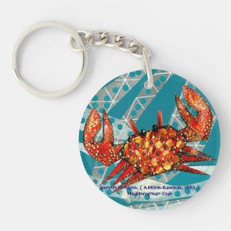 Reciclaje del cangrejo mediterráneo llavero redondo acrílico a doble cara