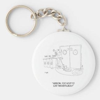 Reciclaje del dibujo animado 9265 llavero redondo tipo pin