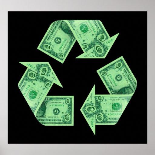 Reciclaje del dinero póster