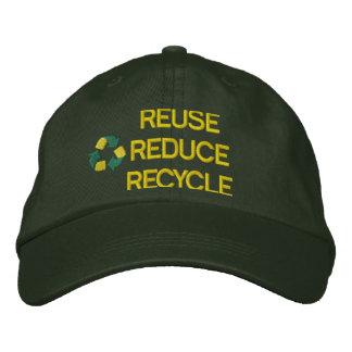 Reciclaje del gorra bordado gorra de béisbol