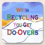 reciclaje del mensaje de los hacer-excedentes posavasos de bebidas