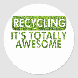 Reciclaje, es hierba verde impresionante pegatina redonda