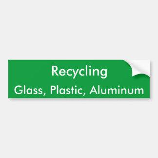 Reciclaje, vidrio, plástico, aluminio pegatina para auto